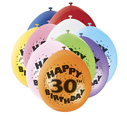 Unique Party Supplies 22,9 cm Latex Ballons, Happy Birthday Sortiert 10 Stück