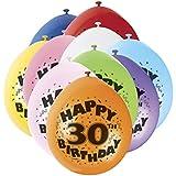 """9 """"de látex variados Feliz 30 cumpleaños Globos, Paquete de 10"""