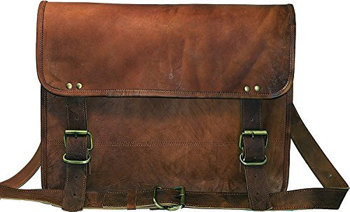 Jaald cuero genuino Messenger Bag Laptop Maletín Satchel Mens bolso de hombro