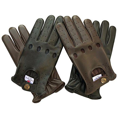 Prime Leder Handschuhe Top Qualität Echtleder Weich Ohne Futter Auto Fahrer Handschuhe (502-N) Schwarz Braun Hellbraun - M, Hellbraun Leder Fahrer Handschuhe Braun