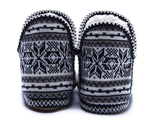 MaaMgic Warme Hausschuhe Damen Winter plüsch hausschuhe kuschelig lustige hausschuhe Grey