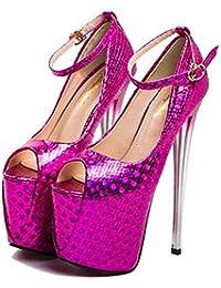 XIE Zapatos de mujer Tacón de aguja Fiesta y Noche Correa de tobillo Club Plataforma Sandalias Bombas tamaño 35...