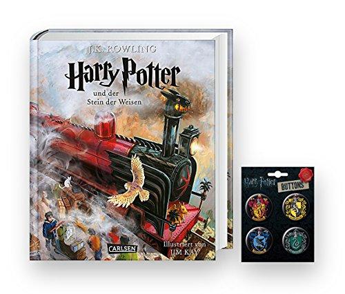 Harry Potter und der Stein der Weisen (vierfarbig illustrierte Schmuckausgabe) + einen von 4 verschiedenen Harry Potter Buttons (Der Stein Der Weisen)