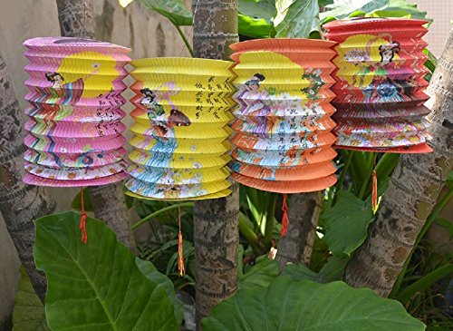 (DMtse 12 cm 12 Stück Mix Farbe Lady Fly to The Moon Chinese Festival Party Chinese New Year Celebration, Papier, Laternen Home Decor Laternen 12 Pack)