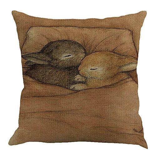 JMETRIC_Kissenbezug Ostern Geschenk Kaninchen Hahn Muster Dekoration Quadrat Kopfkissenbezug Umweltfreundlich Leinen (B1)