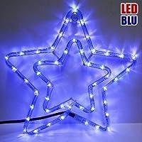 Doppia Stella Natalizia Luminosa 50 LED colore BLU per uso Esterno Bakaji Lighting