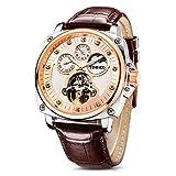 Time100 relojes de hombres mecánicos automáticos huecos multifuncionales con luna y sol (Dorado)