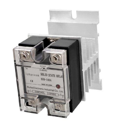 sourcingmap® Solid State Relais SSR 10A w Silber Ton Kühlkörper DC 3-32V to AC 24-480V