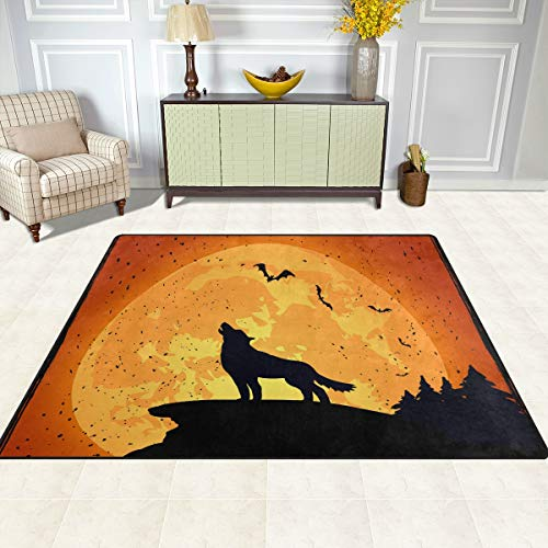 FAJRO Halloween-Wolf-Teppiche für Eingangsbereich, Fußmatte mit Mehreren Mustern, rutschfest, für drinnen und draußen, Polyester, 1, 80 x 58 inch