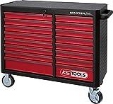 KS Tools MASTERline Großraum-Werkstattwagen, mit 16 Schubladen schwarz/rot