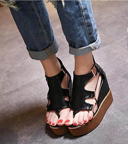 Sommer Steigung mit Sandalen in den weiblichen schweren Boden Sandalen leer Gewinde zapfen erhöht Muffins Black