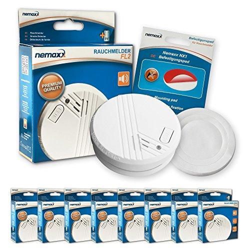 8x Nemaxx FL2 Rauchmelder - hochwertiger Rauchwarnmelder nach EN 14604 mit sensibler...
