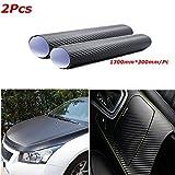 Audew 2PCS Stickers Pellicola 3D Carbonio Adesiva Foglio Nero Wrapping Auto Moto Tuning 1.30X0.3MT/Pc