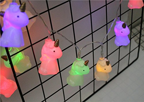 Leisurely Lazy 4.9 ft 10 Lights Battery Powered Cute Unicorn Shape LED String Lights for Indoor/Outdoor Halloween Christmas Thanksgiving Home Party Children Kids Bedroom Decoration (Multicolor)
