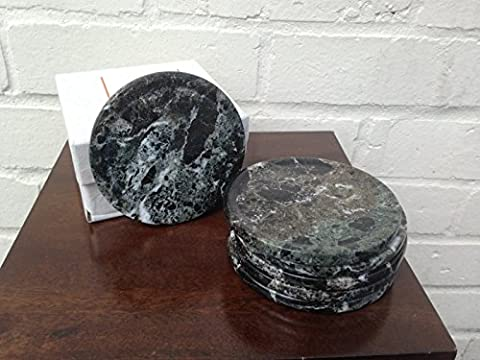 Marble Style Coasters - Black Marble Effect Ceramic Coasters - Set of 6 (786108) by Ginger Interiors