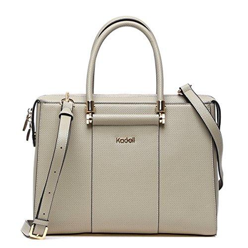 0b2e7c1c63599 ... Kadell Frauen Luxus Leder Designer Handtaschen Top Griff Geldbörse für Damen  Umhängetasche Grau-weiß Hellgrün ...