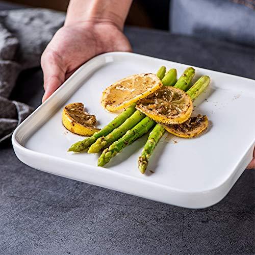 XOSHX Reines weißes Starkes quadratisches Porzellan-Teller-Verpflegungs-Snack-Nachtisch-Nachtisch-Obst-Geschirr-Teller (Gold Kunststoff-platten Mit Trim)