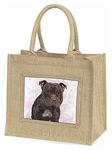 Advanta ad-sbt4bln Staffordshire Bull Terrier große Einkaufstasche/Weihnachten Geschenk, Jute, beige/natur, 42x 34,5x 2cm