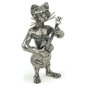 Statuette Chat miniature au Saxophone en étain - Anne Fuzeau Creation