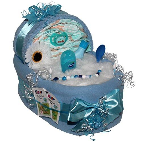 Großes Windelbettchen Süße Träume 51tlg. für Jungen Geschenk zur Taufe Geburt für Jungen Windeltorte