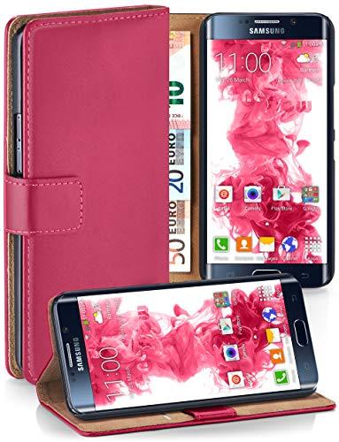 moex® Booklet mit Flip Funktion [360 Grad Voll-Schutz] für Samsung Galaxy S6 Edge | Geldfach und Kartenfach + Stand-Funktion und Magnet-Verschluss, Pink