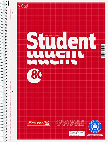 Brunnen 106783201 Notizblock / Collegeblock kariert A4 Student (80 Blatt, Recycling Engel)