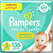 Pampers Baby-Dry, Size 2, Mini, 3-8 kg, Jumbo Box, 136 Diapers