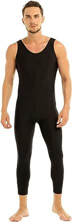 Runhomal Men's Stretch Vest Tank Top Bodysuit Jumpsuit Tights Leggings Dance Unitard Sleepwear