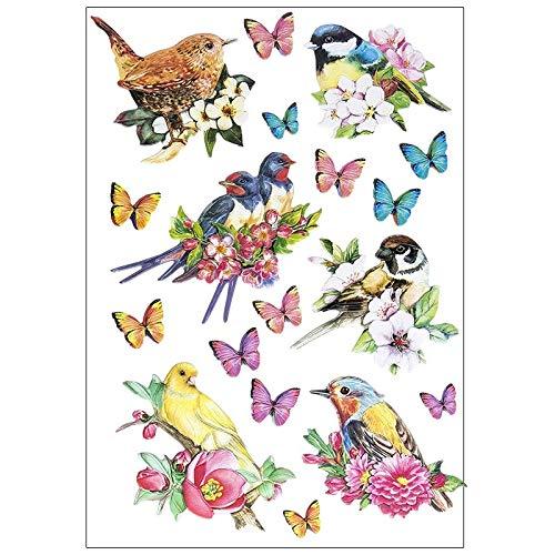 Stickerbogen 3-D Relief-Sticker | Hochwertig geprägt mit 3-D-Effekt | Din A4 Bogen mit verschiedenen Motiven (Vögel auf Zweigen)