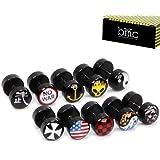 BMC - Set de 10 pendientes/piercings tipo barbell para hombre - Acr��lico - Negro con diferentes dise?os