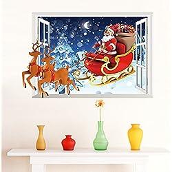 Venkaite Wall Sticker Babbo Natale 3D Adesivi Murales DIY Rimovibile Sticker Murali per Casa Parete Decorazione 50x70 cm (19.6x27.5 inches)