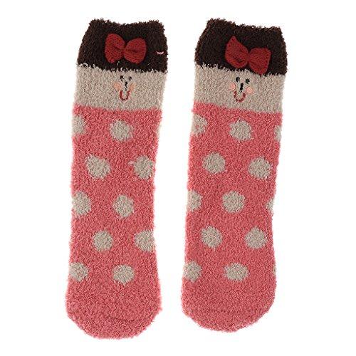 Sharplace Erwachsene Mädchen Set Box Santa Fleece Slipper Socken Winter Weihnachten - Rosa Mädchen, wie beschrieben (Santa Geschenk-box)