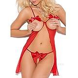HOOUDO Women Sexy New Lingerie Lace Dress Babydoll Womens Underwear Nightwear Sleepwear Bodysuit Temptation Erotic Underwear(3XL,Red)
