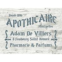 Schablone Apothicaire - französische vintage Schrift - Airbrush stencil - shabby chic Stencil - Dekoration für Möbel, Wände, Stoff, Schilder