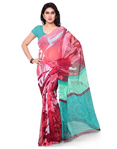 Surat Tex Pink & Sky Blue Color Chiffon Printed Casual Wear Saree with Blouse Piece-I614SEMC-5  available at amazon for Rs.399