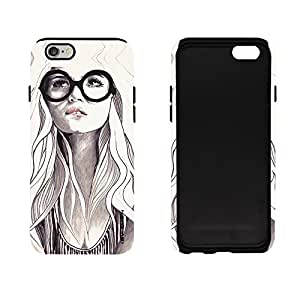 iSweven cute_girl_drawing design printed matte finish 2in1 back case cover for Apple iPhone 6