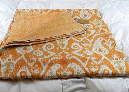 Kiara indischen Kantha Quilts Baumwolle Floral Print Tagesdecken & coverlets reversibel Paisley Muster Kreuzstich überwürfen Twin Size/Queen Size, Baumwolle, Buzz Yellow, Twin -