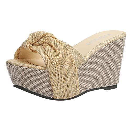VICGREY Sandali da Donna con Zeppa e Pantofole Donna Estate Eleganti Scarpe Donna Tacco Alto Peep-Toe Scarpe Romane Sandali Infradito Ragazze Casuale Party Pantofole