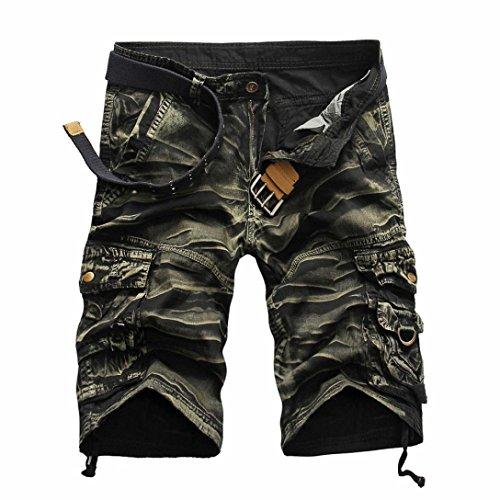 KPILP Sommer Herren Arbeiten Sie zufällige Taschen Strand Arbeits zufällige Kurze Hosenkurze Hosen der Männer um Jeans Hose (Gelb,32)