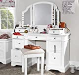 Gainsborough White Dressing table set with extension drawers and crystal handles and 3-Way mirror. Stunning FULLY ASSEMBLED Dressing table set