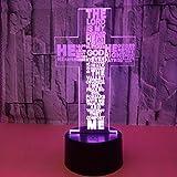 LED Vision LED Veilleuse Cross 3D Light 7 couleurs Touch LED Vision 3D Ventes...