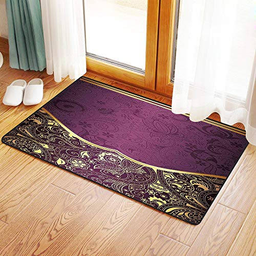 Yaoni Rutschfester Badvorleger, Östliche, orientalische und abstrakte Swirly Floral Frame künstlerische Vintage, antike,Mikrofaser Duschvorleger Teppich für Badezimmer Küche Wohnzimmer 40x60 cm