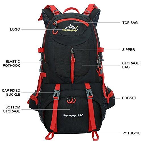 Imagen de 45l+5l impermeable  de senderismo con cubierta lluvia, paquete del alpinismo escalada marcha trekking camping deporte al aire libre unisex negro  alternativa