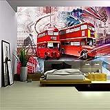 Wmbz Fondo De Pantalla 3D Londres Calle Autobús Rojo Fondo Papel Tapiz 3D Mural Sala De Estar Hotel Decoración Fondo Pared-450X300Cm