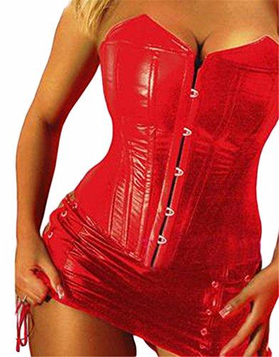 Yall Frau weiches Leder Korsett Breast Care Bauch Hüfte Rückstoß Unterwäsche Red