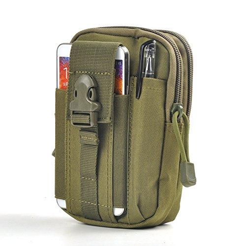 GEZICHTA Tactical MOLLE EDC Utility Pouch Gadget Gürtel Taille Tasche mit Handy Holster, Halter Camping Wandern Outdoor Gear Handy Holster Halterung für iPhone 6/6S/7, armee-grün Gadget-holster