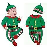 Xinantime - Trajes de ropa de bebé Boy Girl Kids Romper Hat Cap Set regalo de Navidad para 0-24 meses (6-12 meses, Verde)