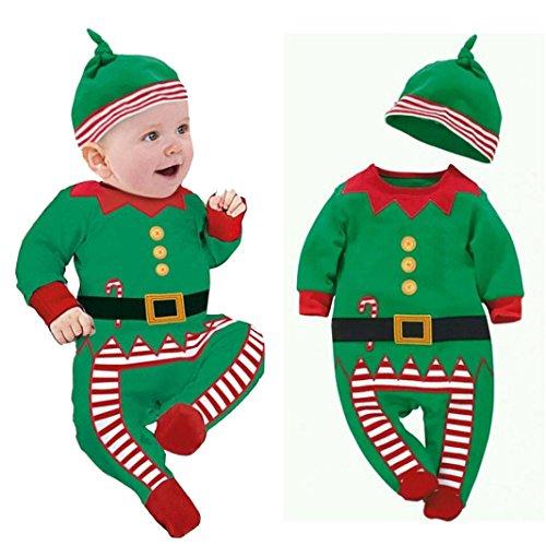 Xinantime - Trajes de ropa de bebé Boy Girl Kids Romper Hat Cap Set regalo de Navidad para 0-24 meses (0-6 meses, Verde)