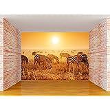 Envouge Customized 3D Wallpaper, ZEBRAS IN JUNGLE, Self Adhesive, 5ft X 4ft, 100% Washable, For Living Room/ Bedroom/ Kids Room/ Study Room