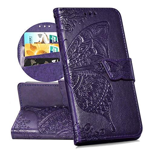 QPOLLY Kompatibel mit ASUS ZenFone Max M2 ZB633KL Handyhülle Tasche Hülle Flip Case im Bookstyle PU Leder Magnetisch Schutzhülle Kartenhalter Geldbörse Folio Klapp Ledertasche mit Standfunktion,Lila